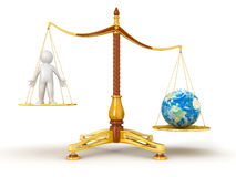 Justice Balance  with Globe and man (clipping path included) Royalty Free Stock Photography