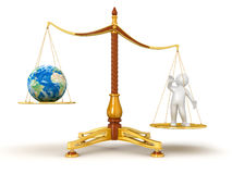 Justice Balance  with Globe and man (clipping path included) Stock Photography