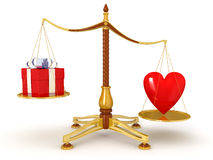 Justice Balance  with heart and gift (clipping path included) Stock Images