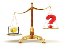 Justice Balance  with Quest and Laptop (clipping path included) Royalty Free Stock Photography