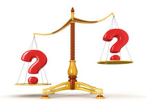 Justice Balance  with Quests (clipping path included) Royalty Free Stock Images