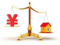 Justice Balance  with Yen and house (clipping path included) Royalty Free Stock Photos