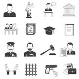 Justice black icons set Stock Photos