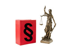 Justice. Book with paragraph sign and Lady Justice isolated on white background Royalty Free Stock Photos