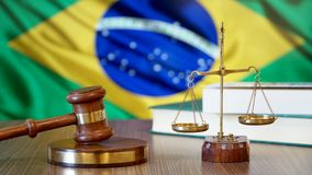 Justice for Brazil Laws in Brazilian Court. Brazil Flag stock photography
