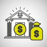 Justice bulding bag money icon graphic. Vector illustration eps 10 Royalty Free Stock Photography
