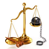 Justice concept. 3d Illustration of a golden scale, gavel and massive ball which chain. Law is supreme concept Stock Photography