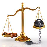 Justice concept. 3d Illustration of a golden scale, gavel and massive ball which chain. Law is supreme concept Royalty Free Stock Photos