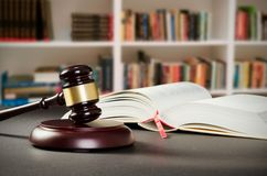 Justice concept in court library. Law attorney court lawyer gavel judge justice legal conception Stock Photo