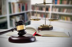 Justice concept in court library. Law attorney court lawyer gavel judge justice legal conception Stock Image