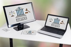 Justice concept on different devices Royalty Free Stock Photography