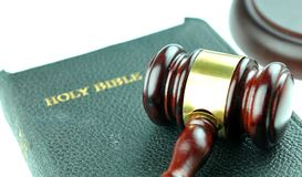 Justice. Concept with gavel against the bible Stock Photography