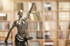 Justice concept. Admonition balance blind book bookshelf bronze Royalty Free Stock Photos