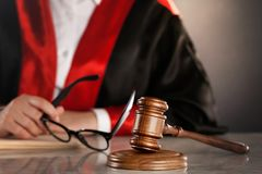 Justice concept. Law gavel juridical court arbitrate attorney Stock Image