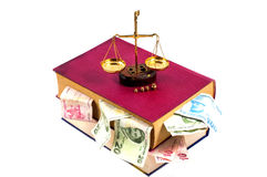 Justice concept. Law, scale, money and book Stock Image