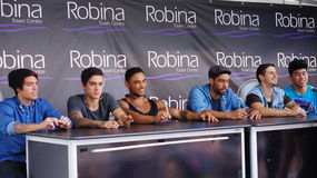 Justice Crew. The Australian pop music group Justice Crew on a tour visit at Robina Town Centre in Robina,  Queensland in Australia.  Photo taken on December Royalty Free Stock Photo