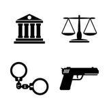 Justice de loi Icônes relatives simples de vecteur illustration libre de droits