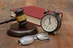 Justice delay is denied late concept with gavel.  Stock Photography