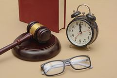 Justice delay is denied late concept with gavel.  Stock Photos