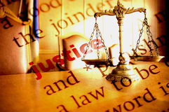 Justice. Dictionary definition of Justice and Decorative Scales of Justice Stock Photography