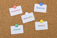 Justice and Equality. Words Equality and Justice written on five white stickers pinned on cork board Stock Image