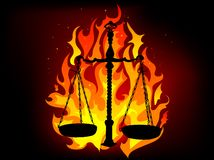 Justice in flames. Justice scales in the flames Royalty Free Stock Images