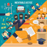 Justice Flat Color Concept. Heist with robbers and police than court and inevitability of justice flat color seamless concept vector illustration Stock Images