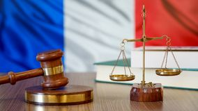 Justice for France Laws in French Court. France Flag royalty free stock photos