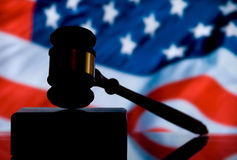 Justice Gavel. Wooden justice gavel and block with brass Stock Photo