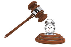 Justice Gavel with Alarm Clock Royalty Free Stock Photos