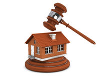 Justice Gavel with Brick House Royalty Free Stock Images