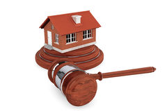 Justice Gavel with Brick House Royalty Free Stock Photos