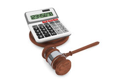 Justice Gavel with Calculator Royalty Free Stock Photography