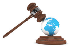 Justice Gavel with Earth Globe Royalty Free Stock Photography