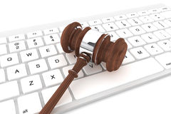 Justice Gavel and keyboard. On a white background Stock Photos