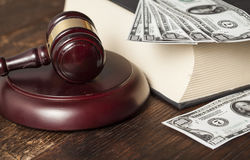 Justice gavel and money on the desk Royalty Free Stock Photo