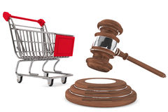 Justice Gavel with Shopping Cart. On a white background Royalty Free Stock Image