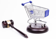Justice Gavel with Shopping Cart Royalty Free Stock Photos
