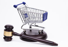 Justice Gavel with Shopping Cart Stock Photography