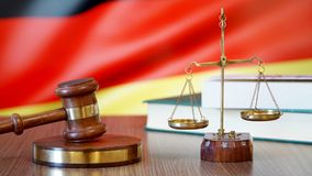 Justice for Germany Laws in German Court. Germany Flag stock image