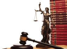 Justice goddess , gavel and law book stock photography