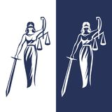 Lady justice statue. Justice Goddess Themis, lady justice Femida. Stylized contour vector. Blind woman holding scales and sword stock illustration