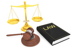 Justice gold scale, Law Book and wooden gavel Royalty Free Stock Photos