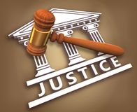 Justice + hammer. Justice icon with a hammer over a court vector illustration