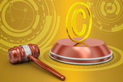 Justice hammer and copyright Royalty Free Stock Photos
