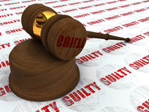 Justice hammer and  guilty. Classic wooden judge's gavel, Symbol of justice - Guilty stamp Stock Image