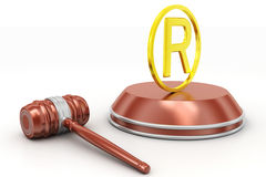 Justice hammer and Registered trademark symbol Royalty Free Stock Photography
