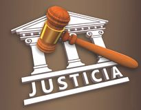 Justice + hammer in spanish. Justice icon with a hammer over a court vector illustration