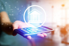 Justice icon going out a smartphone interface - technology conce Royalty Free Stock Images