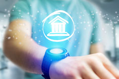 Justice icon going out a smartwatch interface - technology conce Stock Photos